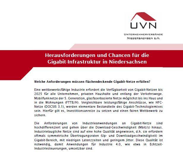 UVN Position Gigabit-Politik