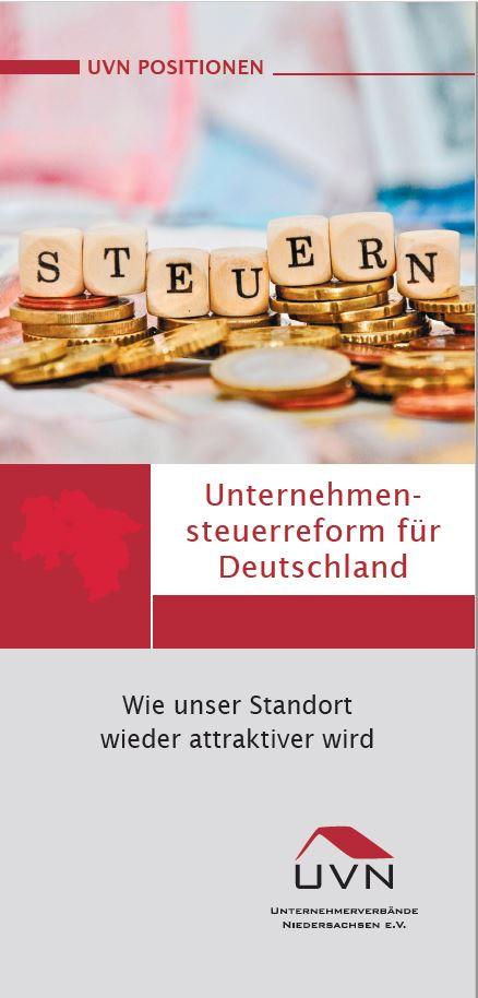 Titel UVN Positionspapier Unternehmensteuerreform