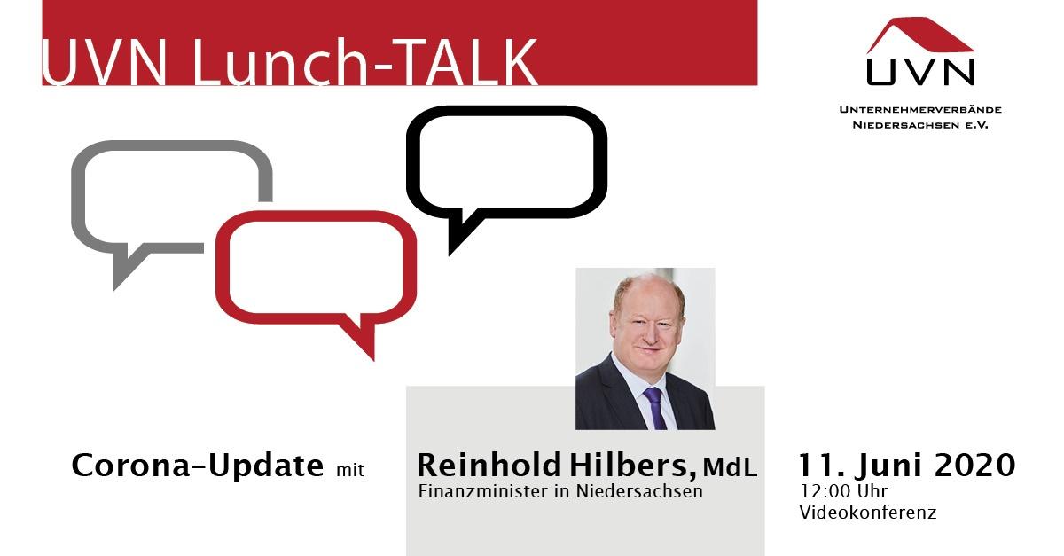 UVN-Lunch-Talk mit dem Nds. Finanzminister Reinhold Hilbers (MdL)