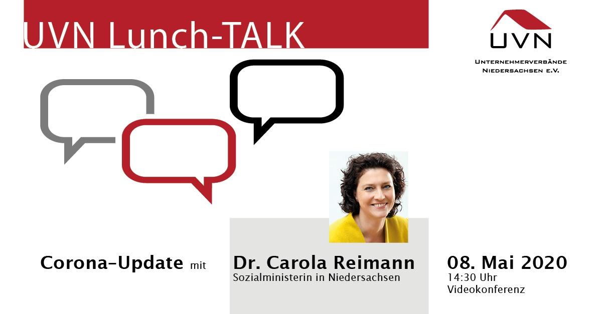 UVN-Lunch-Talk mit Dr. Carola Reimann, Niedersächsische Ministerin für Soziales, Gesundheit und Gleichstellung