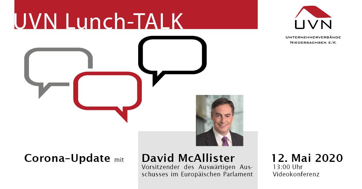 UVN-Lunch-Talk mit MdEP David McAllister, Vorsitzender des Auswärtigen Ausschusses im Europäischen Parlament