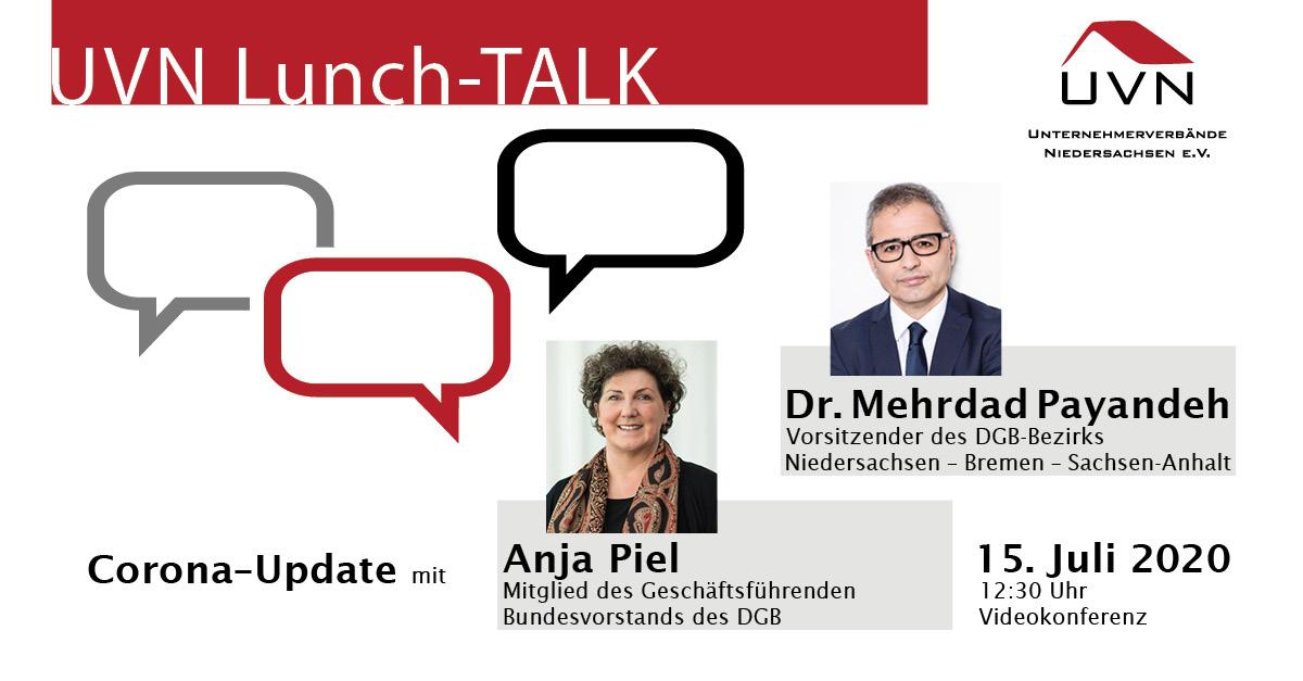UVN-Lunch-Talk mit Anja Piel (DGB) & Dr. Mehrdad Payandeh (DGB-Bezirk Niedersachsen – Bremen – Sachsen-Anhalt)