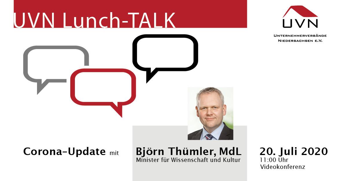 UVN-Lunch-Talk mit MdL Björn Thümler, dem Niedersächsischen Minister für Wissenschaft und Kultur