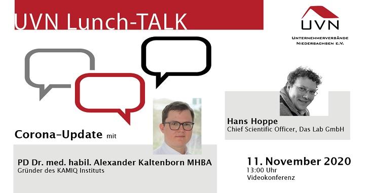 """UVN Lunch-Talk mit Dr. Alexander Kaltenborn (KAMIQ Institut / """"Das Lab"""") und Hans Hoppe (Das Lab GmbH)"""