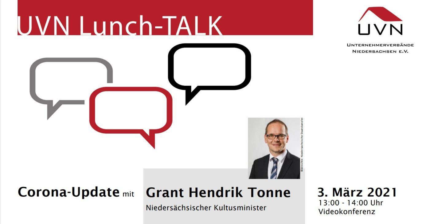 UVN Lunch-TALK mit dem Niedersächsischen Kultusminister Grant Hendrik Tonne