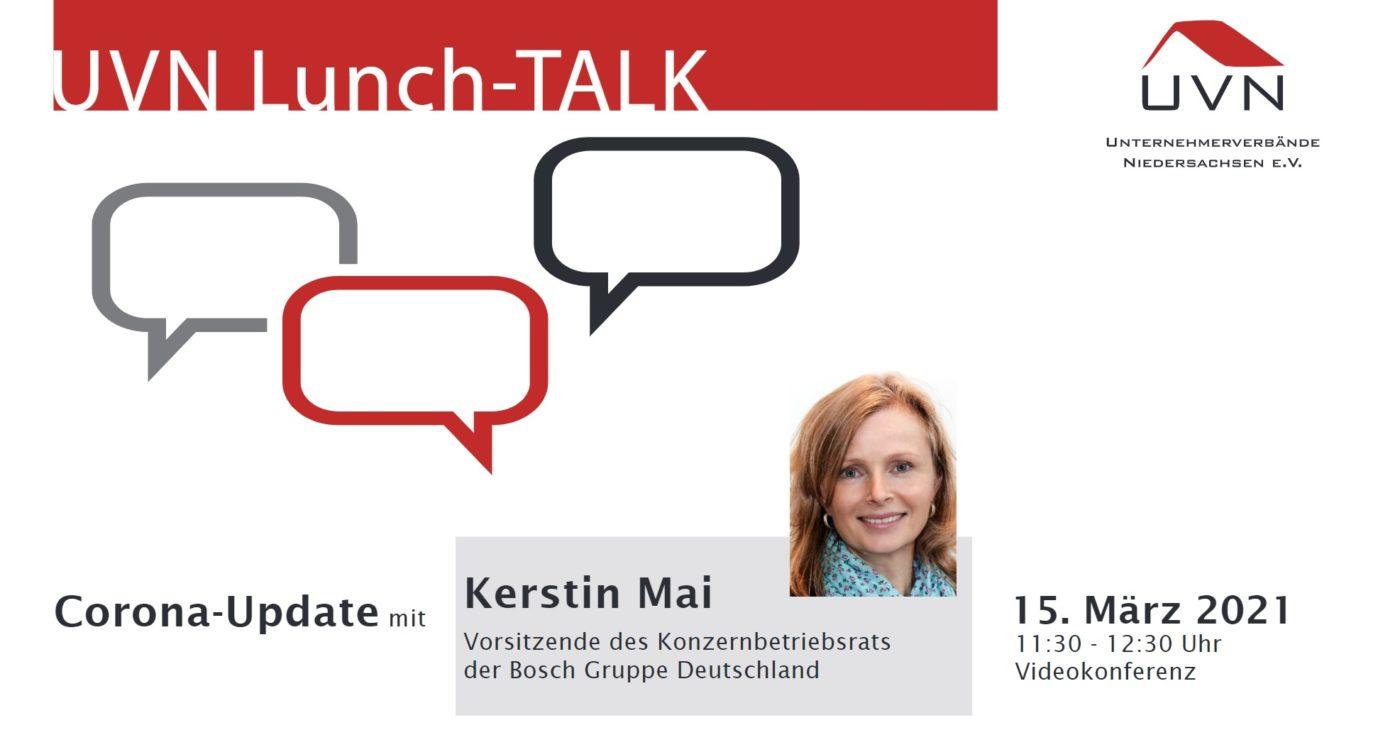 UVN Lunch-Talk mit Kerstin Mai, Vorsitzende des Konzernbetriebsrats der Bosch Gruppe Deutschland