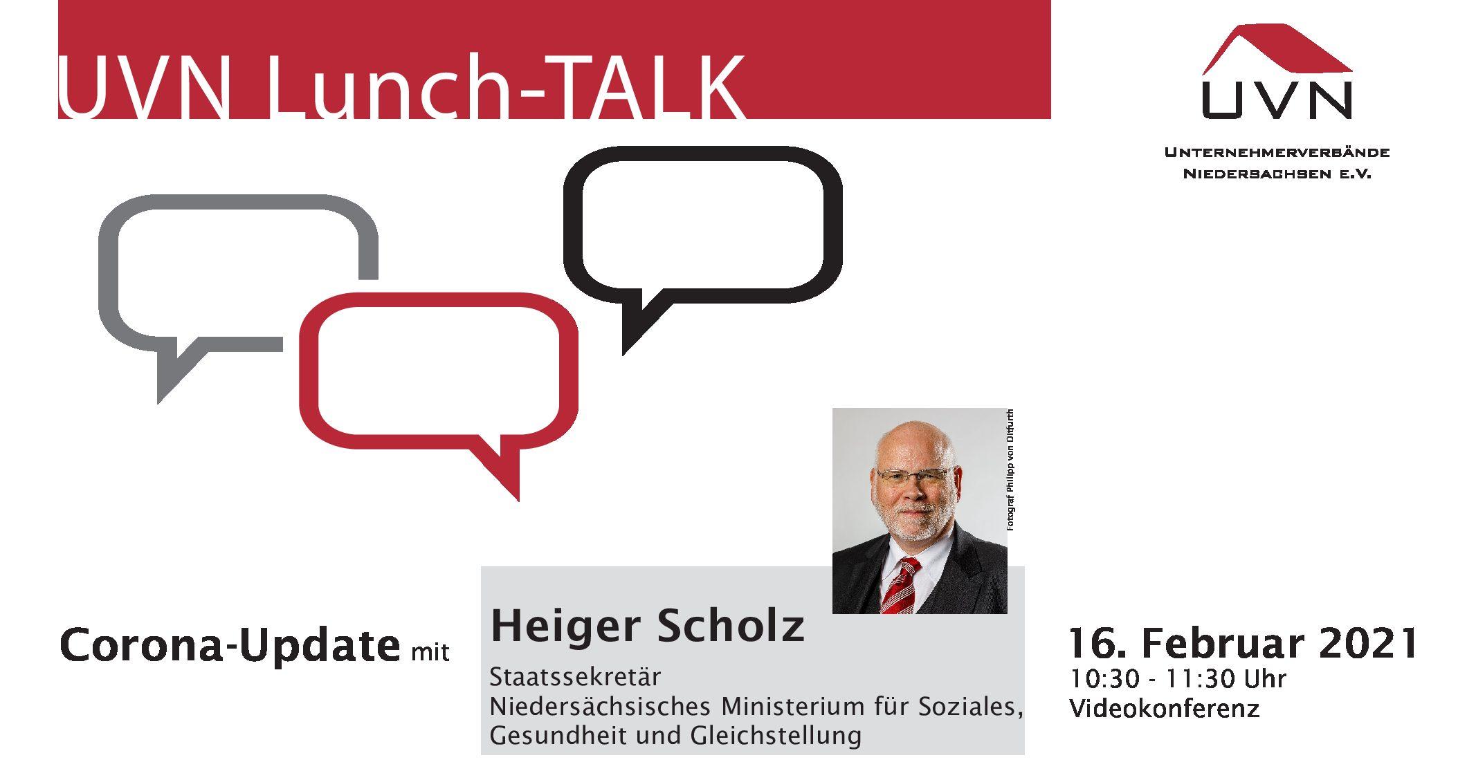 UVN Lunch-Talk mit Heiger Scholz, Staatssekretär im Niedersächsischen Ministerium für Soziales, Gesundheit und Gleichstellung