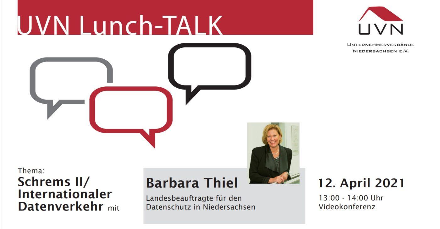 UVN Lunch-Talk mit Barbara Thiel, Landesbeauftragte für Datenschutz