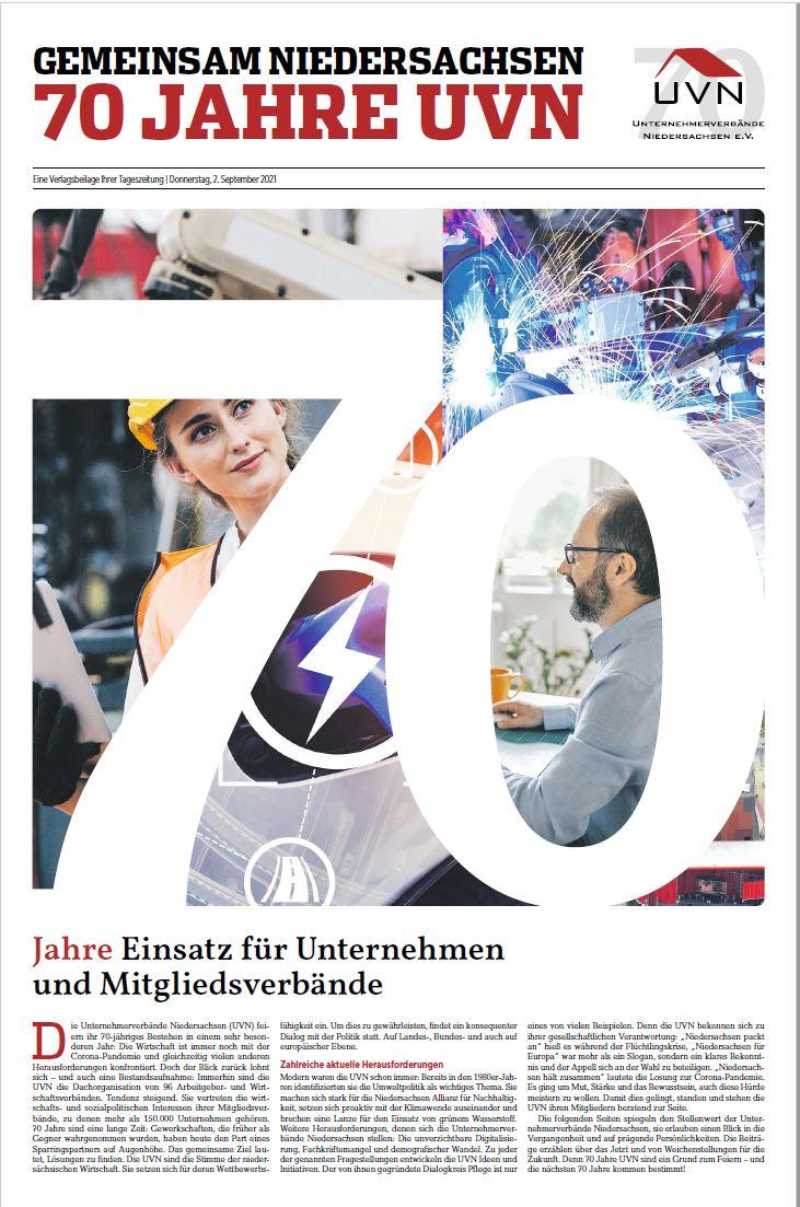 #70JahreUVN – geballte Geschichte, Gegenwart & Zukunft (Zeitungsbeilage Madsack 2.9.2021)